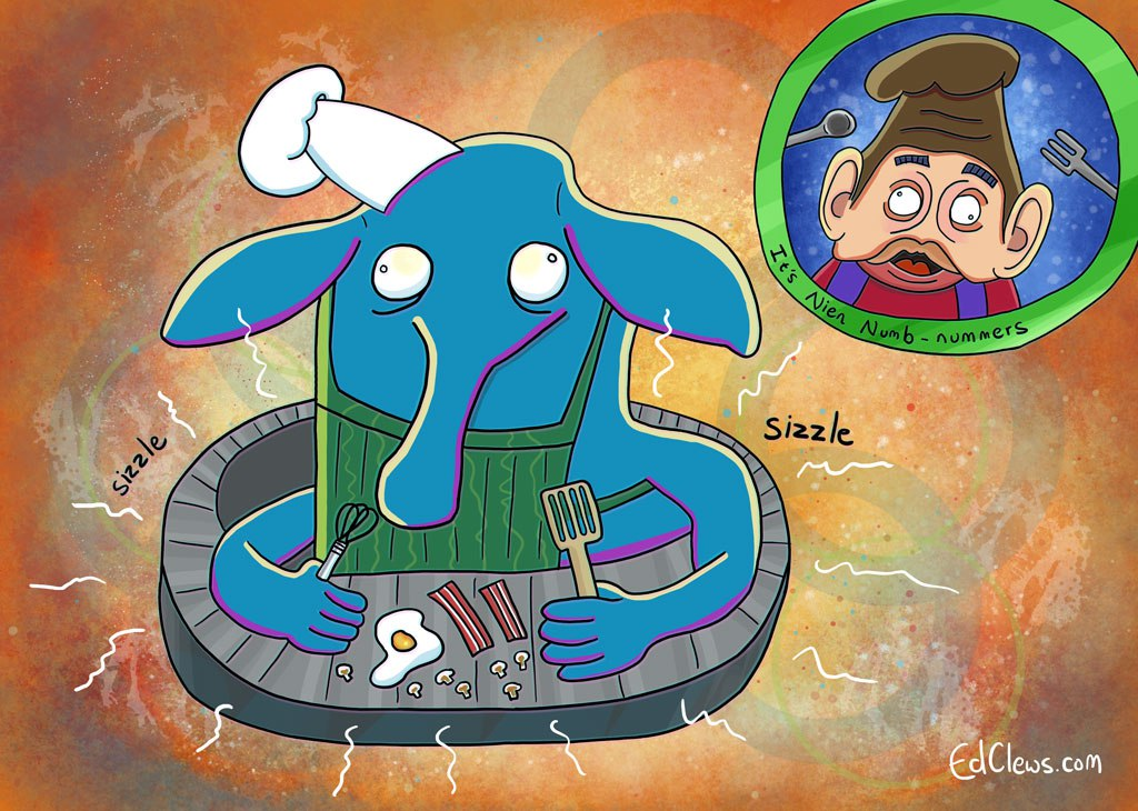 Illustration of Max Rebo the funny blue elephant man from Return of the Jedi