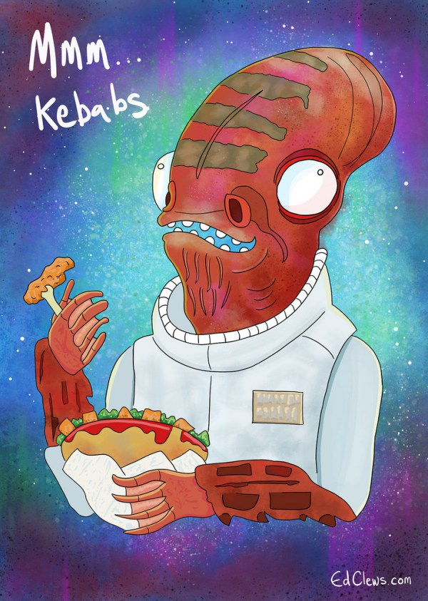 Admiral Ackbar from Star Wars eating a kebab illustration