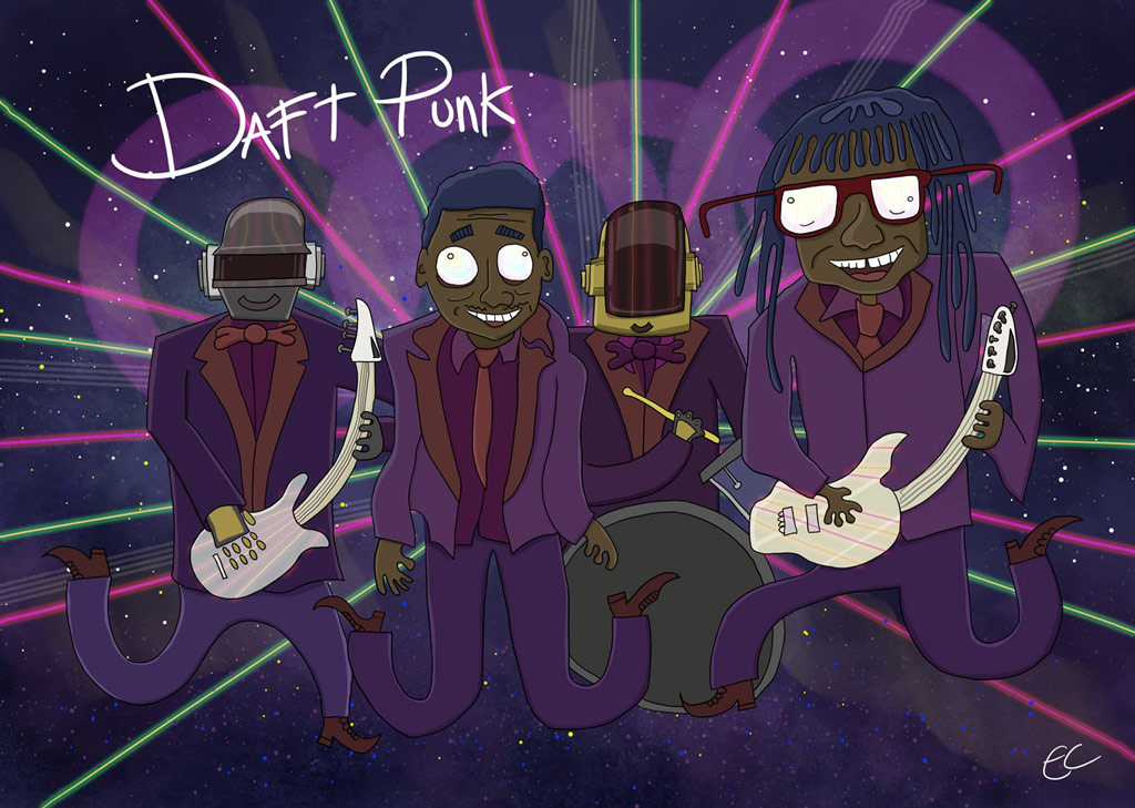 Daft Punk illustration by Ed Clews