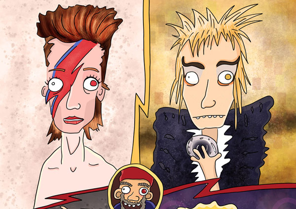 Stages of David Bowie illustration