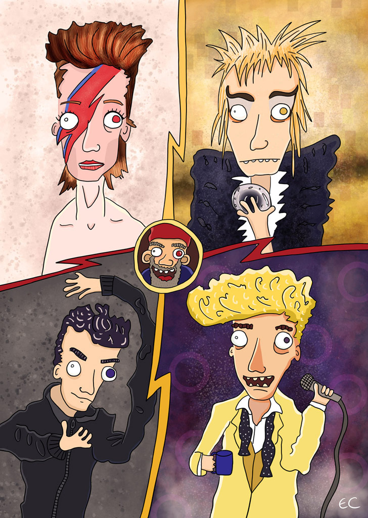 Stages of David Bowie illustration by Ed Clews