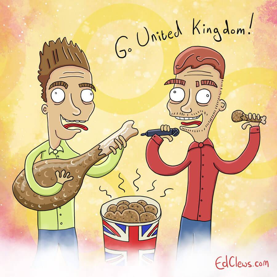 Jake and Joe, the UK entry - Eurovision 2016 illustrations