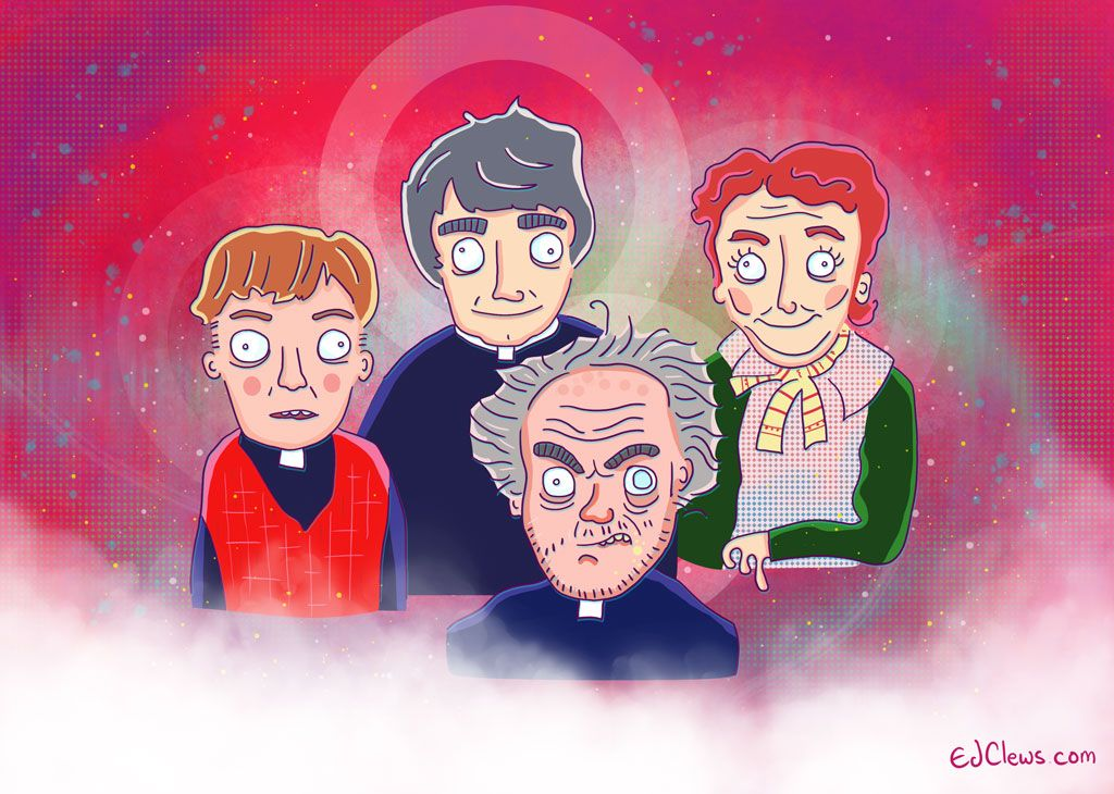 Father Ted illustration feat Ted, Father Dougal, Father Jack and Mrs Doyle