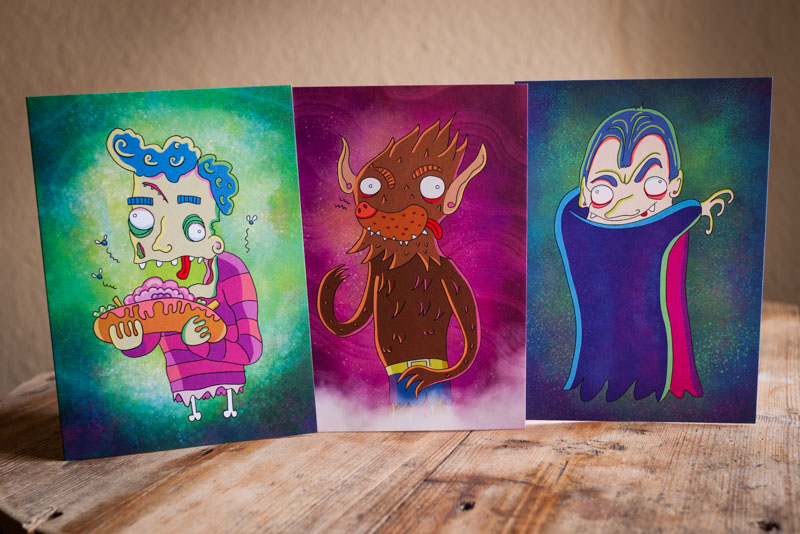 Halloween illustrated greetings cards featuring vampires, zombies and werewolves