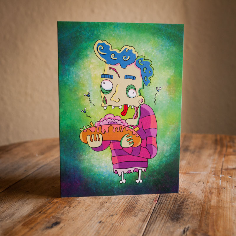 Zombie illustrated greetings card by Ed Clews Illustration