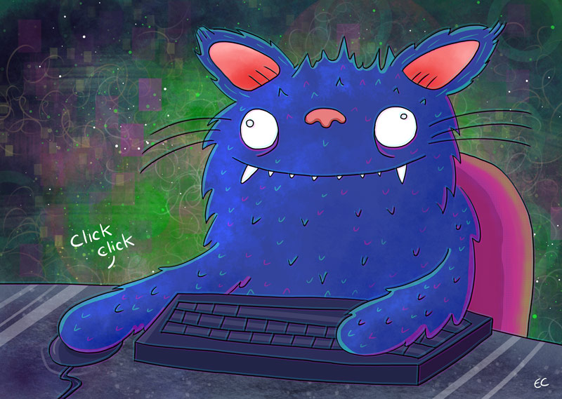 Cat on a computer illustration