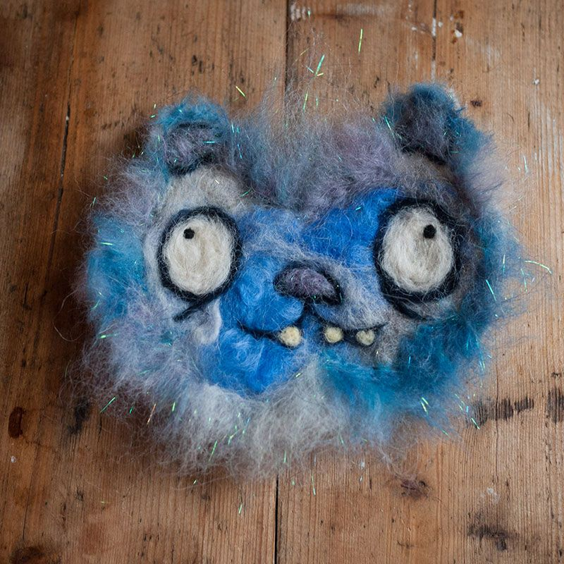 Blue and white sparkly cat needle felted by Ed Clews and Unloved Animals