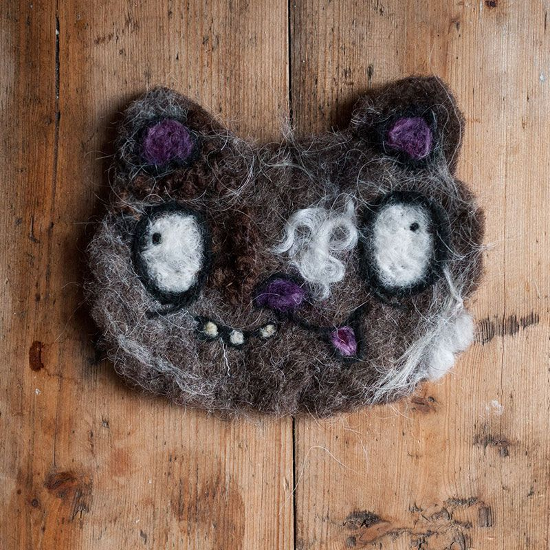 Brown and purple needle felted cat by Ed Clews and Unloved Animals