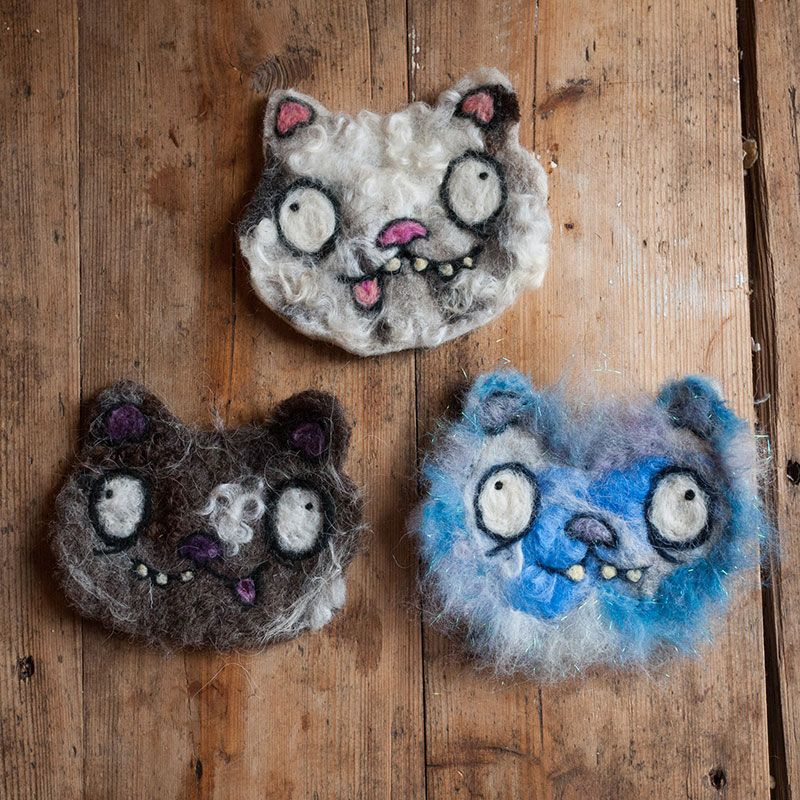 Needle felted cats by Ed Clews and Unloved Animals