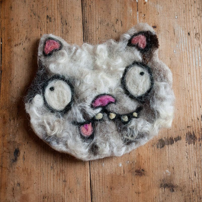 White and grey needle felted cat by Ed Clews and Unloved Animals