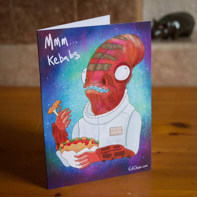 Admiral Ackbar illustrated greetings card by Ed Clews