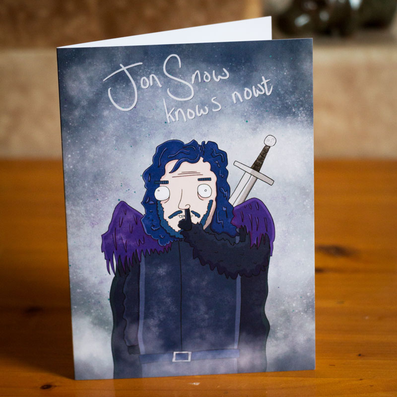 Jon Snow from that there Game of Thrones illustrated greetings card by Ed Clews