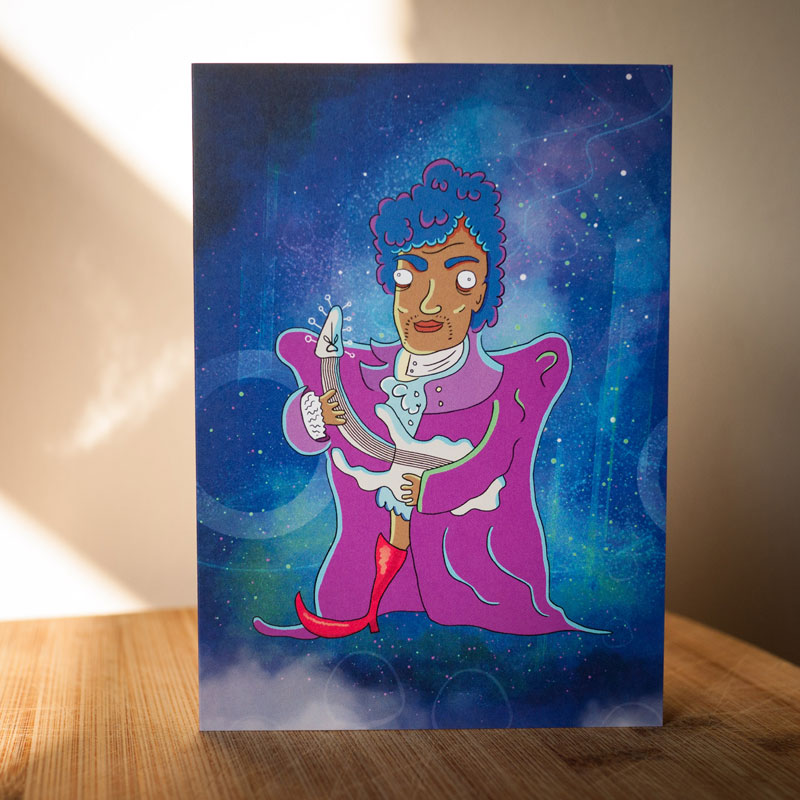 Prince illustrated greetings card by Ed Clews